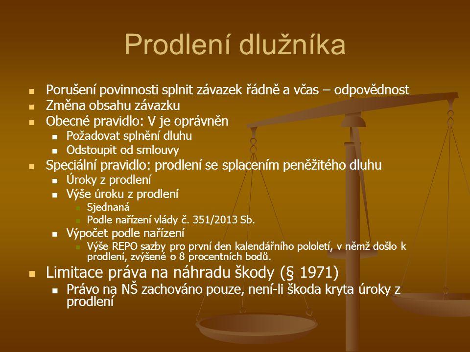 Prodlení dlužníka Limitace práva na náhradu škody (§ 1971)