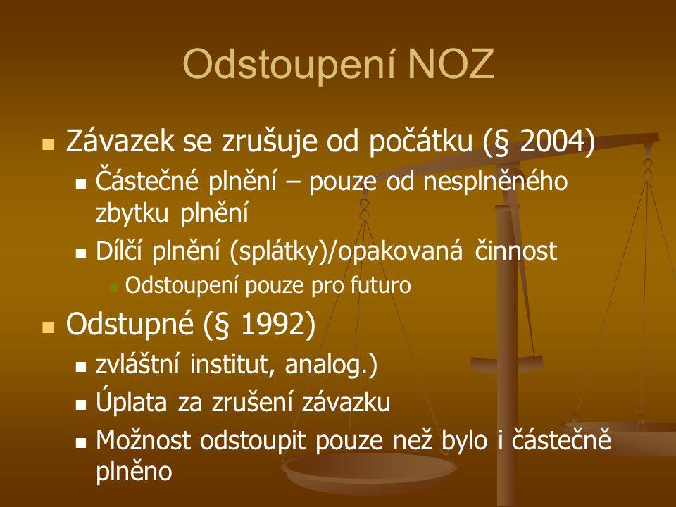 Odstoupení NOZ Závazek se zrušuje od počátku (§ 2004)