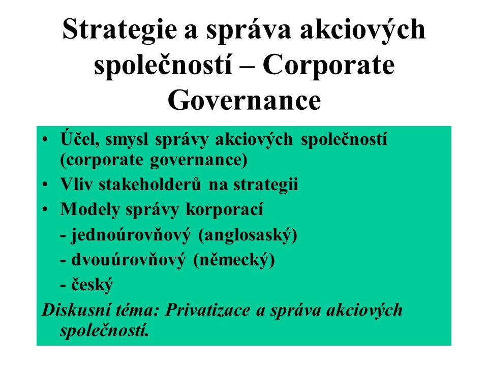 Strategie a správa akciových společností – Corporate Governance