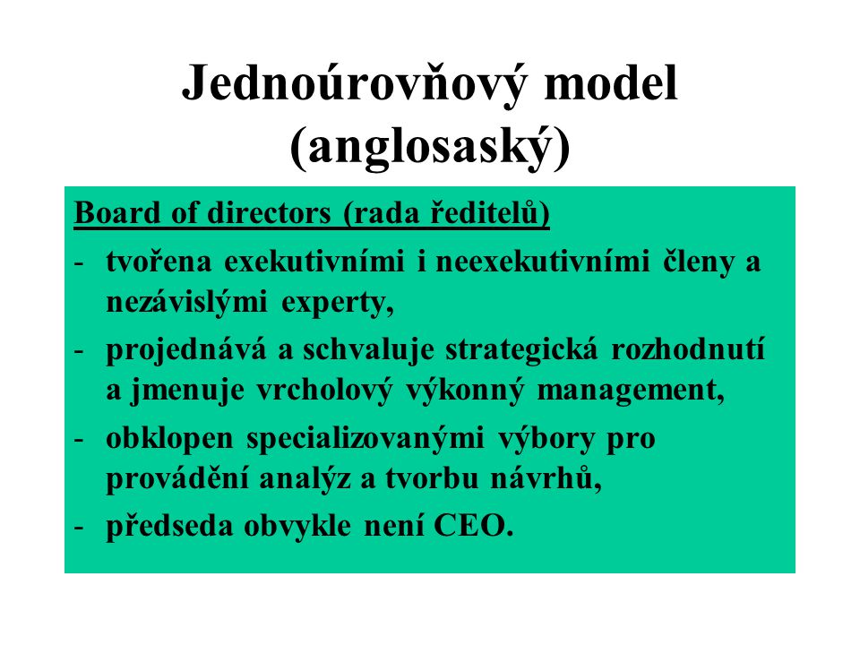 Jednoúrovňový model (anglosaský)