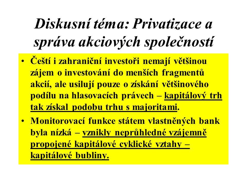 Diskusní téma: Privatizace a správa akciových společností
