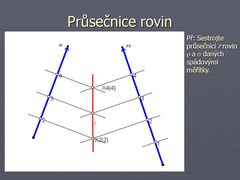 Průsečnice rovin Př: Sestrojte průsečnici r rovin r a s daných spádovými měřítky.