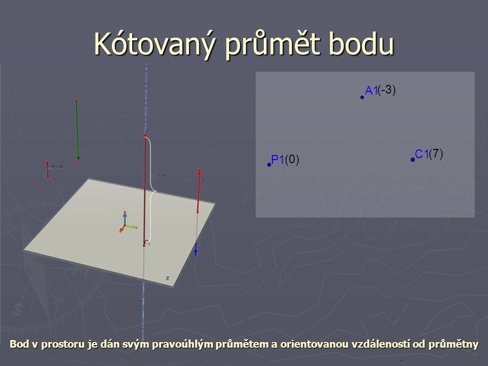 Kótovaný průmět bodu A1 (-3) C1 (7) P1 (0)
