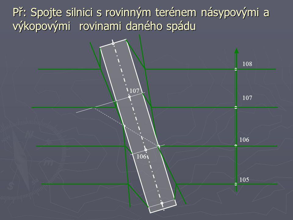 Př: Spojte silnici s rovinným terénem násypovými a výkopovými rovinami daného spádu