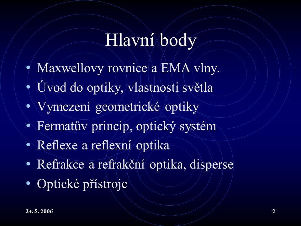 Hlavní body Maxwellovy rovnice a EMA vlny.