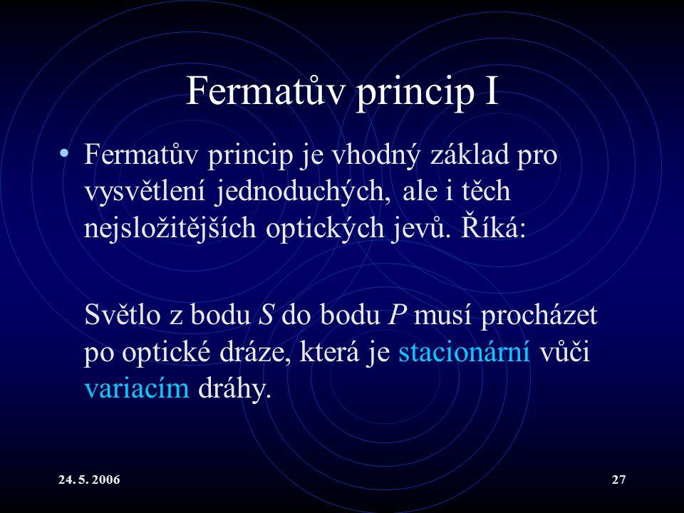 Fermatův princip I Fermatův princip je vhodný základ pro vysvětlení jednoduchých, ale i těch nejsložitějších optických jevů. Říká: