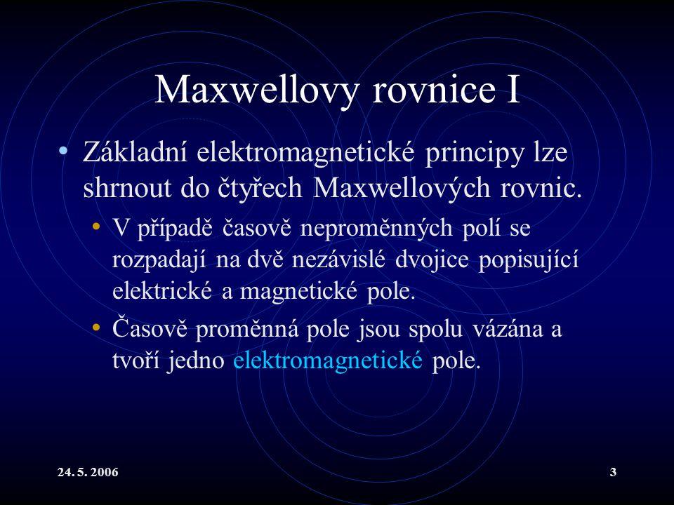 Maxwellovy rovnice I Základní elektromagnetické principy lze shrnout do čtyřech Maxwellových rovnic.