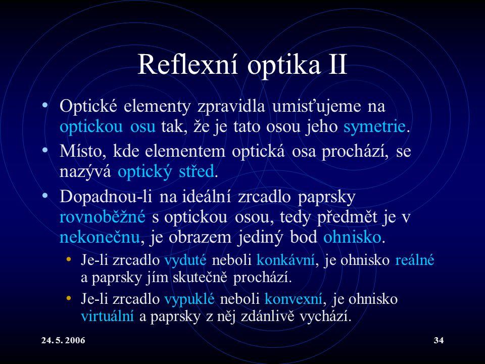 Reflexní optika II Optické elementy zpravidla umisťujeme na optickou osu tak, že je tato osou jeho symetrie.