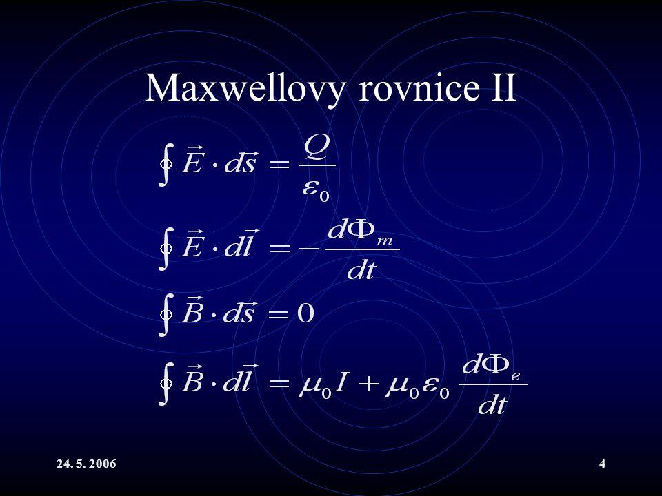 Maxwellovy rovnice II 24. 5. 2006