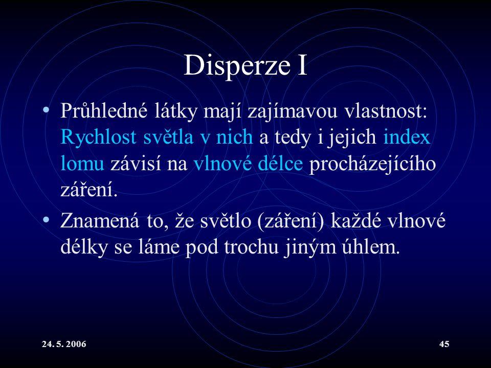 Disperze I Průhledné látky mají zajímavou vlastnost: Rychlost světla v nich a tedy i jejich index lomu závisí na vlnové délce procházejícího záření.