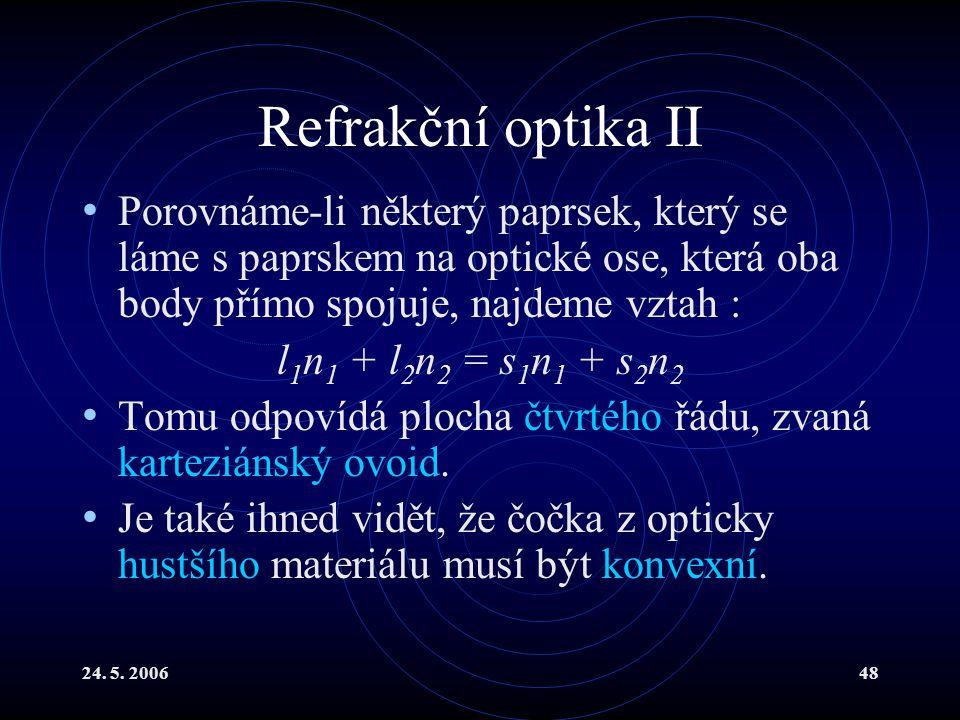 Refrakční optika II Porovnáme-li některý paprsek, který se láme s paprskem na optické ose, která oba body přímo spojuje, najdeme vztah :
