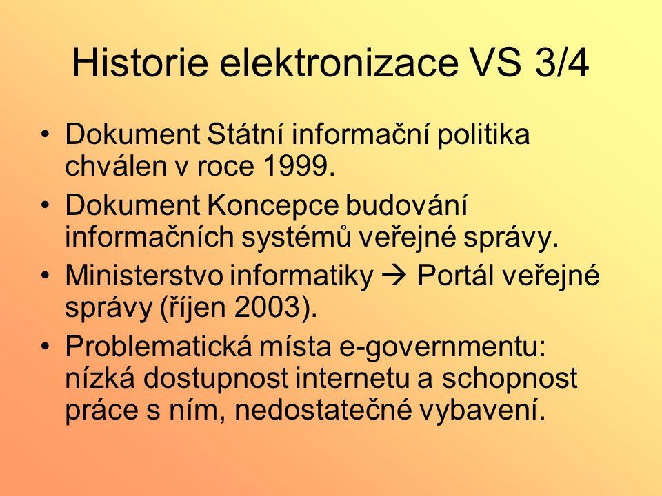 Historie elektronizace VS 3/4