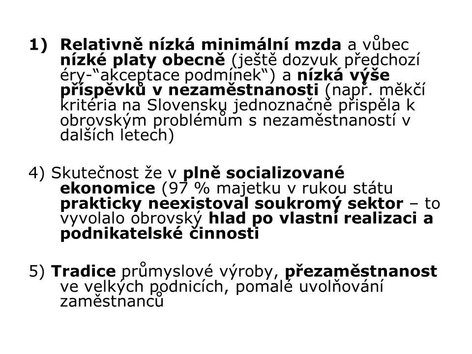 Relativně nízká minimální mzda a vůbec nízké platy obecně (ještě dozvuk předchozí éry- akceptace podmínek ) a nízká výše příspěvků v nezaměstnanosti (např. měkčí kritéria na Slovensku jednoznačně přispěla k obrovským problémům s nezaměstnaností v dalších letech)