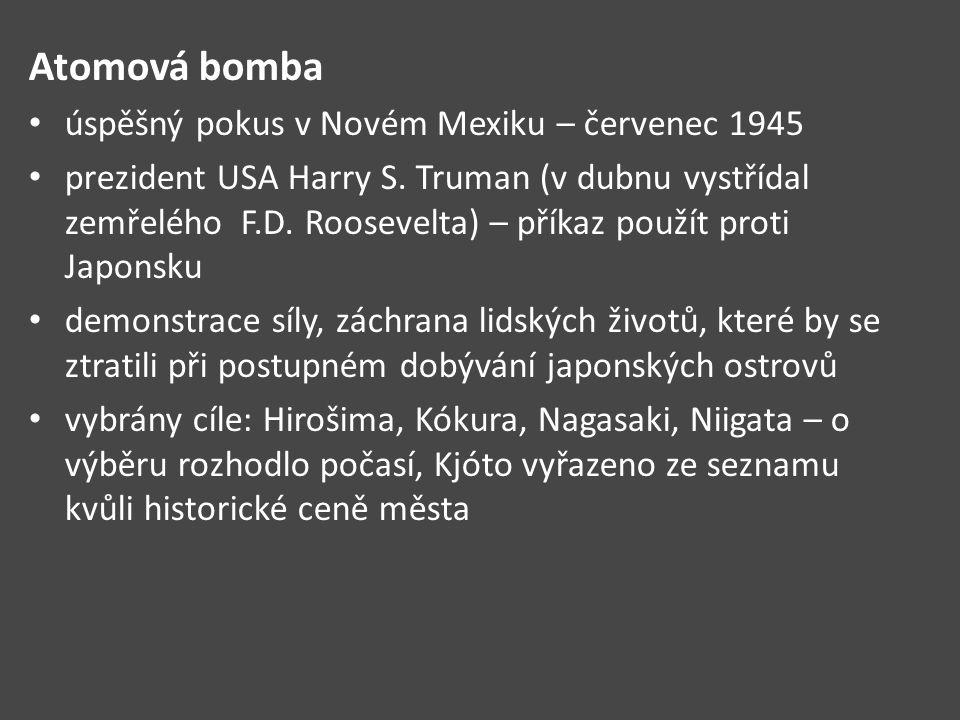 Atomová bomba úspěšný pokus v Novém Mexiku – červenec 1945