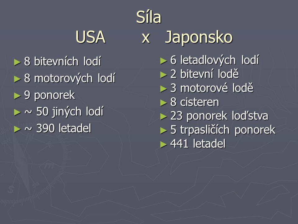 Síla USA x Japonsko 6 letadlových lodí 8 bitevních lodí 2 bitevní lodě