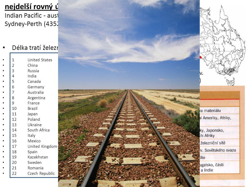 nejdelší rovný úsek trati na světě (475 km)