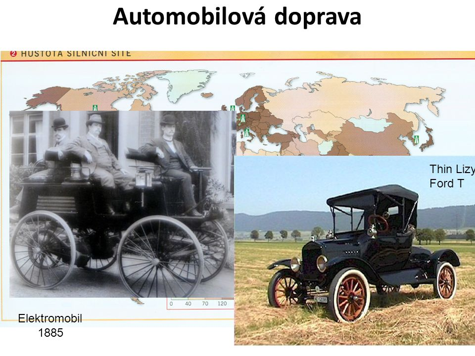 Automobilová doprava Počátek – spalovací x elektrický motor (1900 více elektromobilů!), Ford – 1. pásová výroba! = zlevnění.