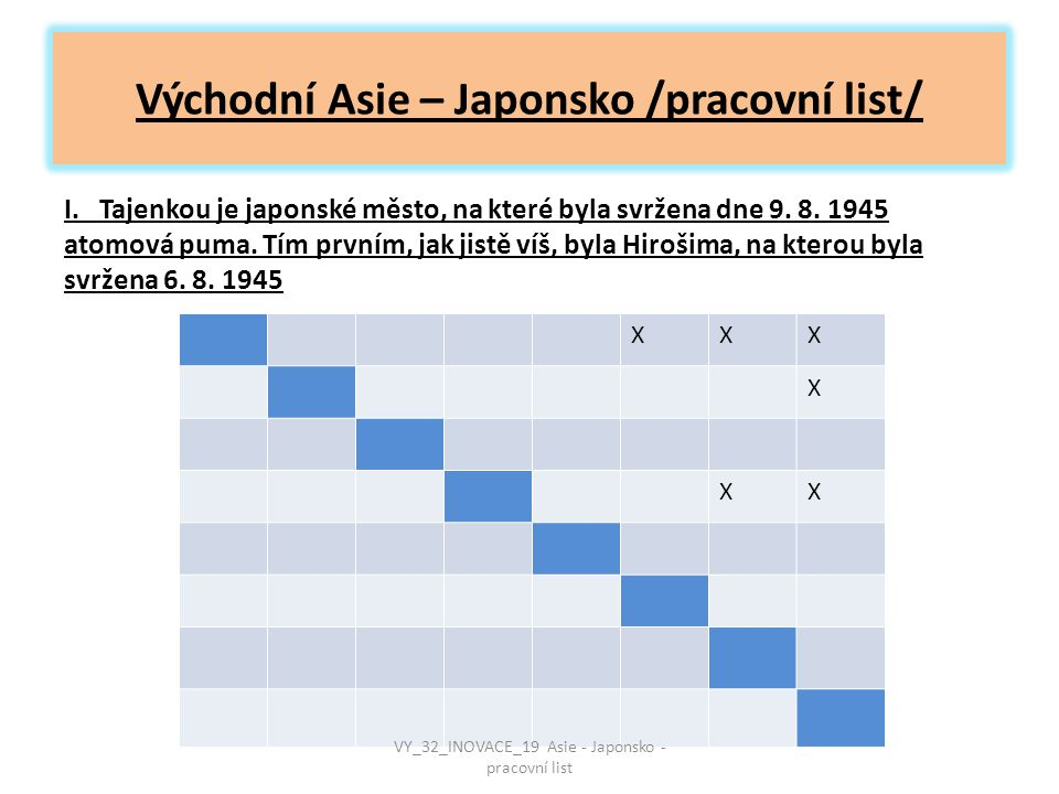 Východní Asie – Japonsko /pracovní list/