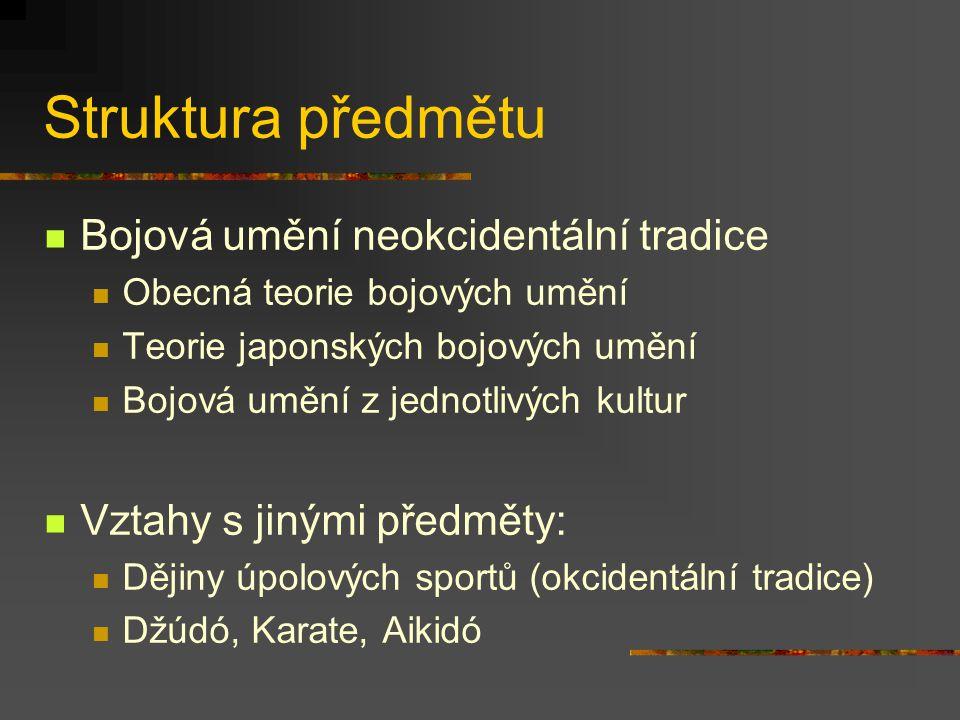 Struktura předmětu Bojová umění neokcidentální tradice