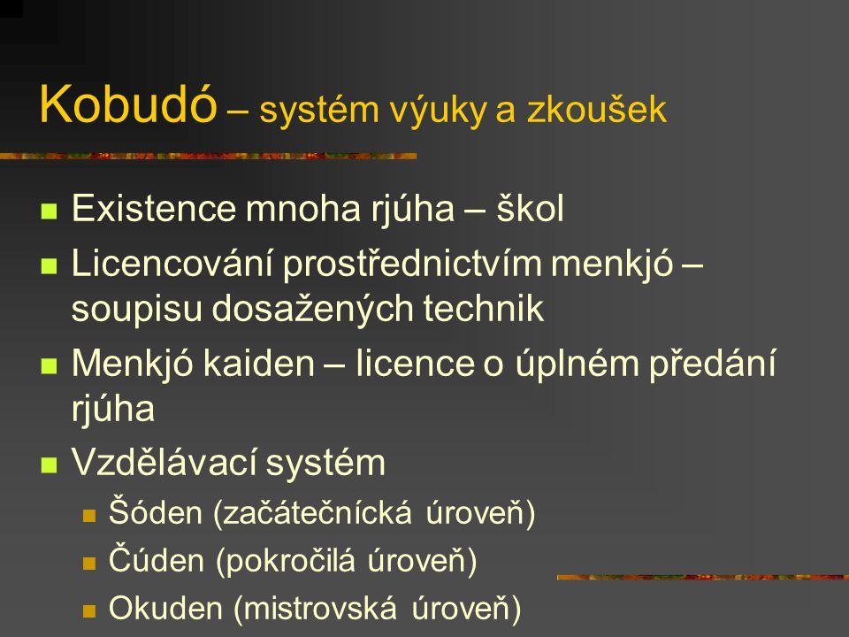 Kobudó – systém výuky a zkoušek