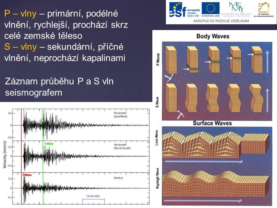 P – vlny – primární, podélné vlnění, rychlejší, prochází skrz celé zemské těleso