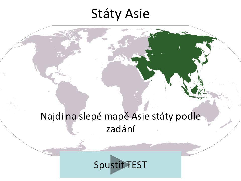 Najdi na slepé mapě Asie státy podle zadání