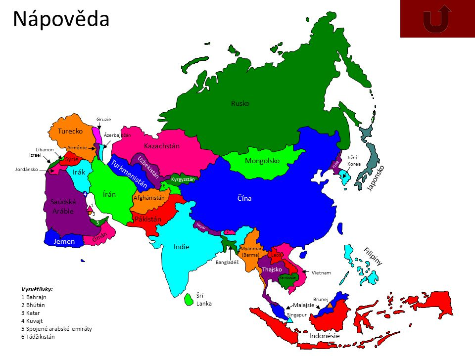 Nápověda Rusko Turecko Kazachstán Mongolsko Turkmenistán Irák Japonsko