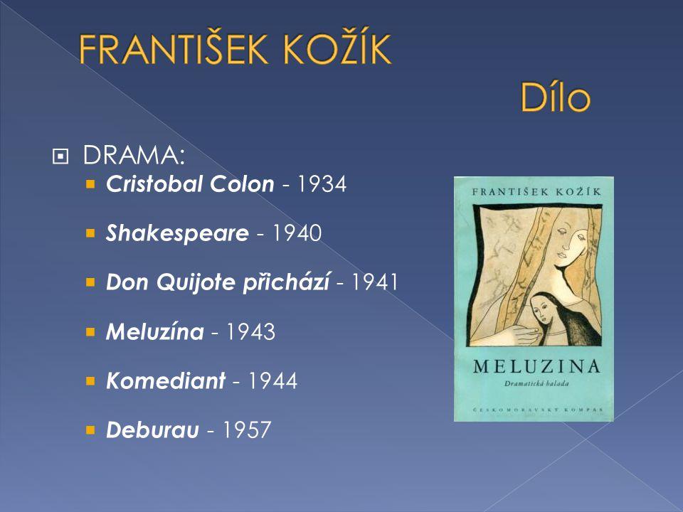 FRANTIŠEK KOŽÍK Dílo DRAMA: Cristobal Colon - 1934 Shakespeare - 1940