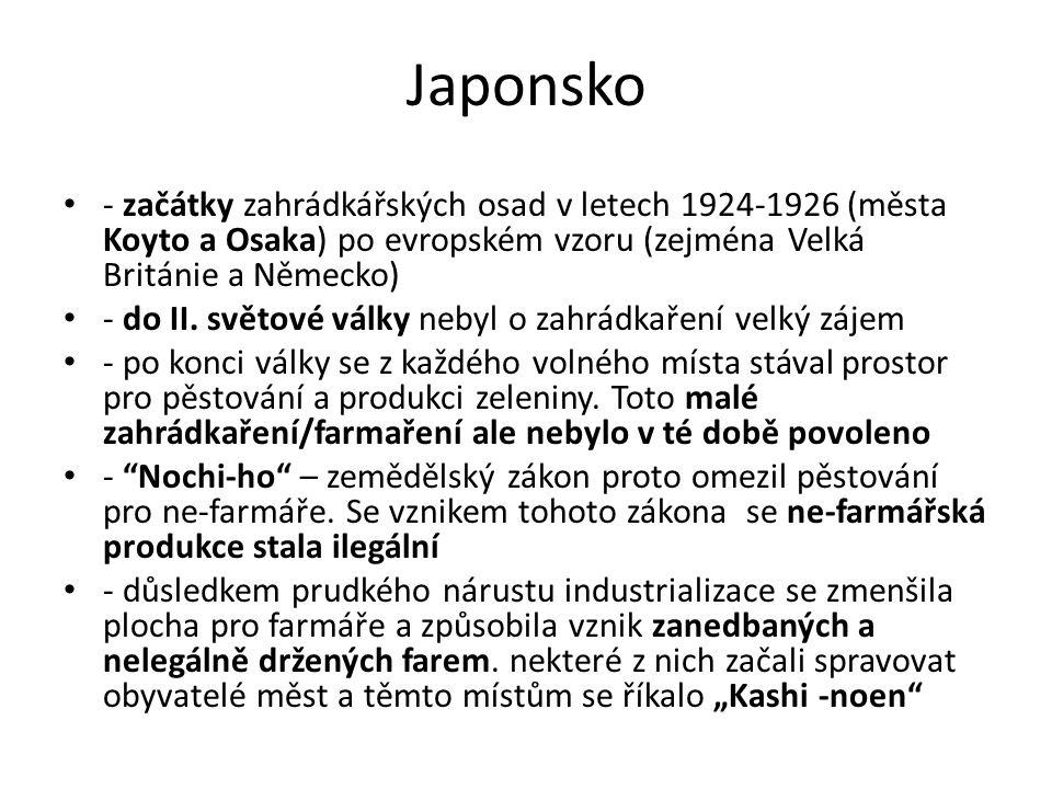Japonsko - začátky zahrádkářských osad v letech 1924-1926 (města Koyto a Osaka) po evropském vzoru (zejména Velká Británie a Německo)