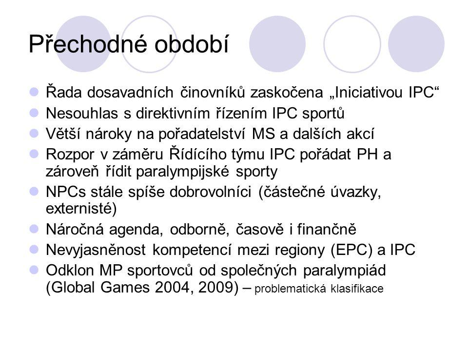 """Přechodné období Řada dosavadních činovníků zaskočena """"Iniciativou IPC Nesouhlas s direktivním řízením IPC sportů."""
