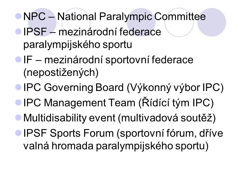 NPC – National Paralympic Committee