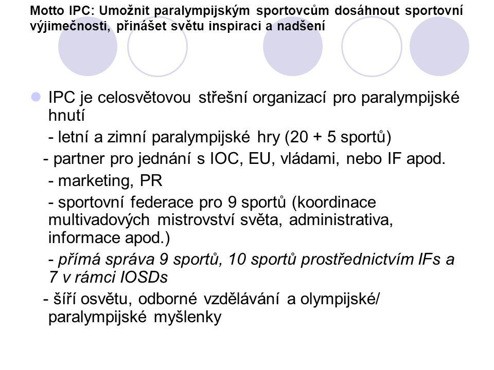 IPC je celosvětovou střešní organizací pro paralympijské hnutí