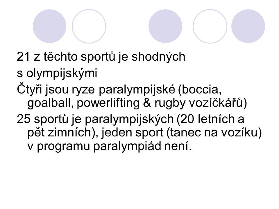 21 z těchto sportů je shodných