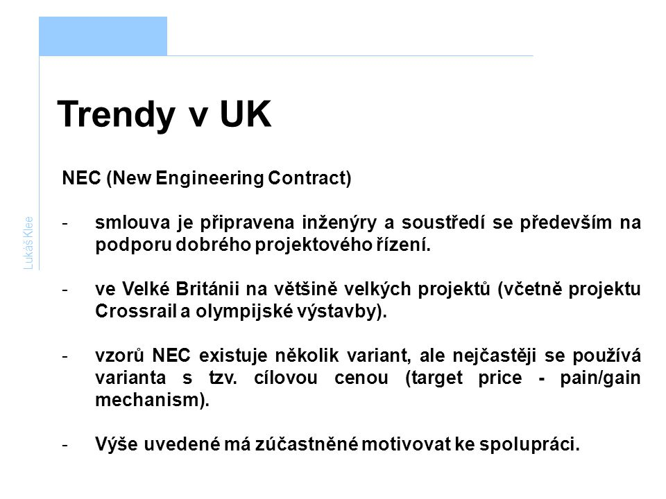 Trendy v UK NEC (New Engineering Contract)