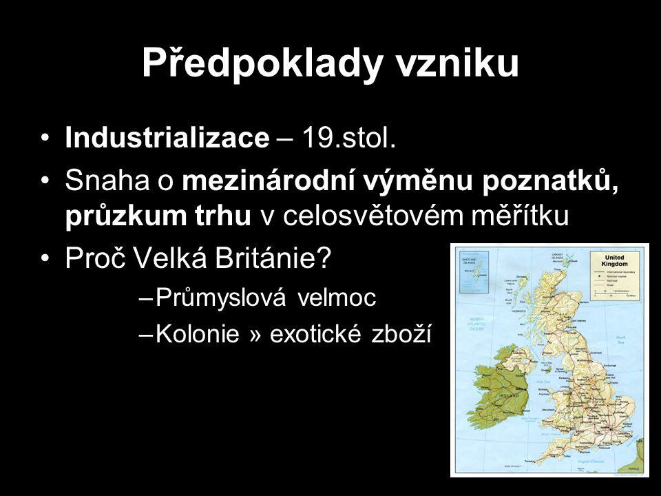 Předpoklady vzniku Industrializace – 19.stol.