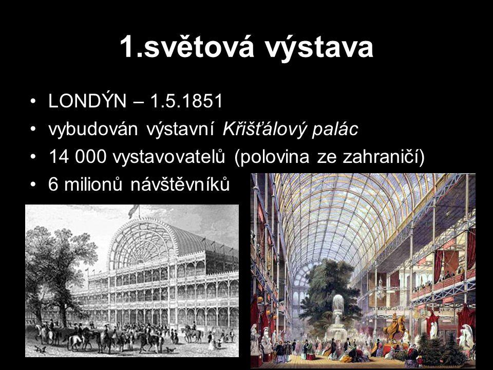 1.světová výstava LONDÝN – 1.5.1851