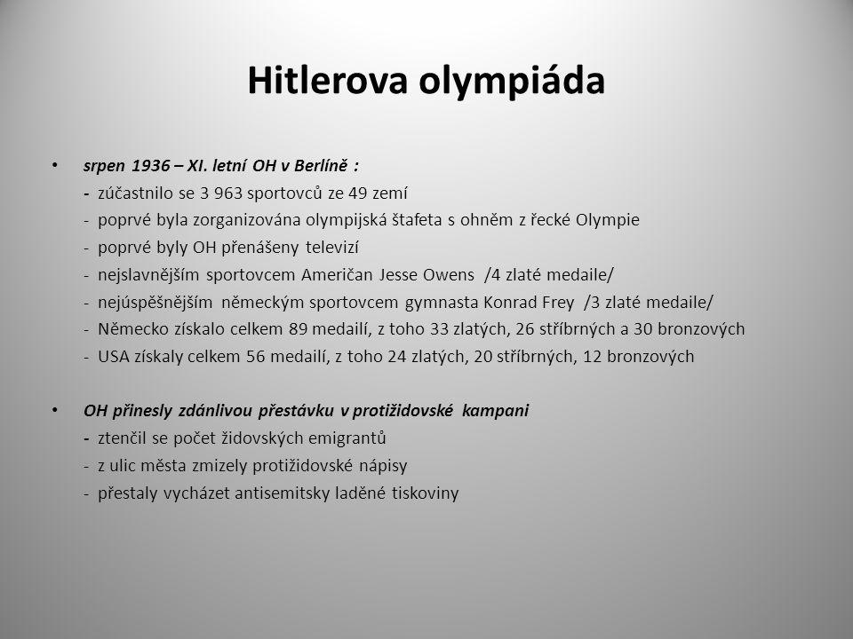 Hitlerova olympiáda srpen 1936 – XI. letní OH v Berlíně :