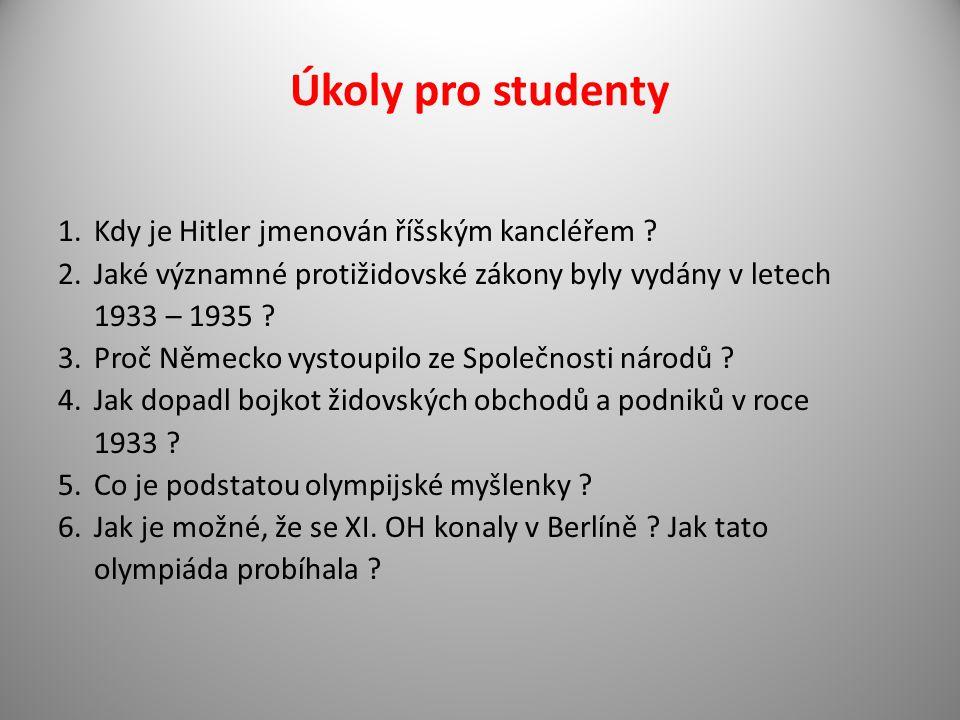 Úkoly pro studenty Kdy je Hitler jmenován říšským kancléřem