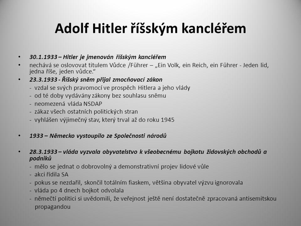 Adolf Hitler říšským kancléřem