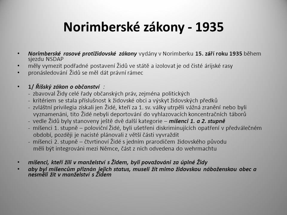 Norimberské zákony - 1935 Norimberské rasové protižidovské zákony vydány v Norimberku 15. září roku 1935 během sjezdu NSDAP.