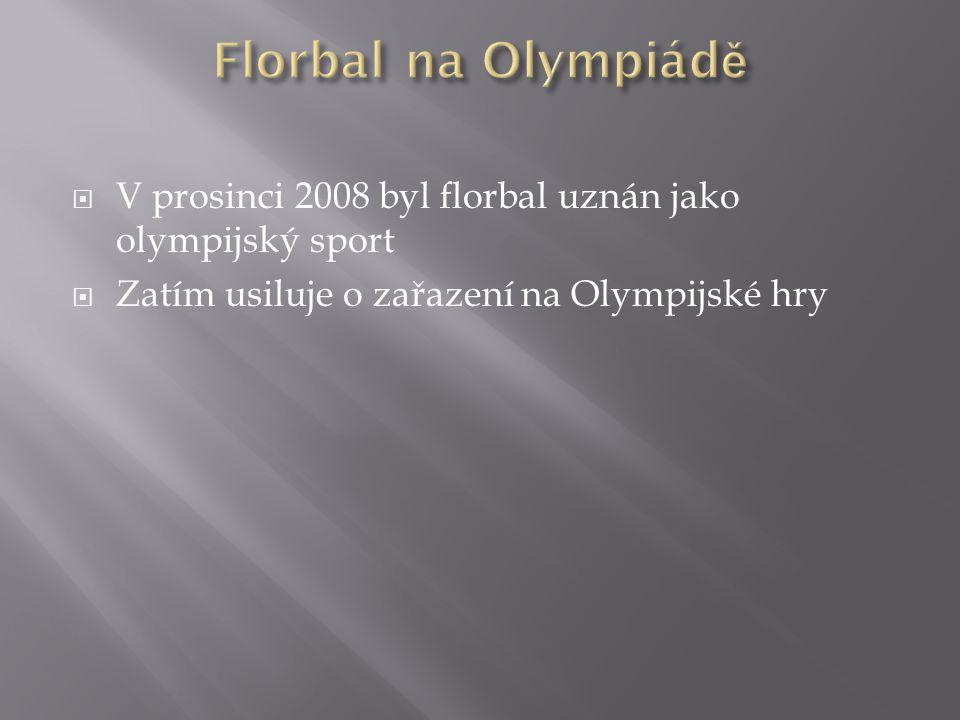 Florbal na Olympiádě V prosinci 2008 byl florbal uznán jako olympijský sport.