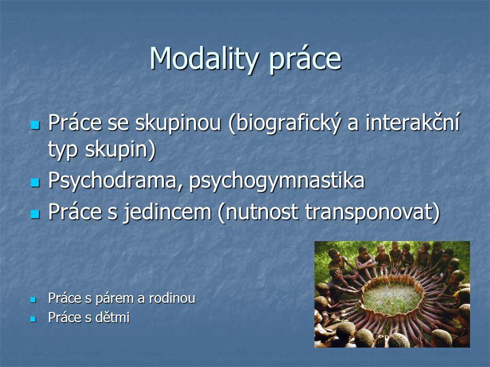 Modality práce Práce se skupinou (biografický a interakční typ skupin)