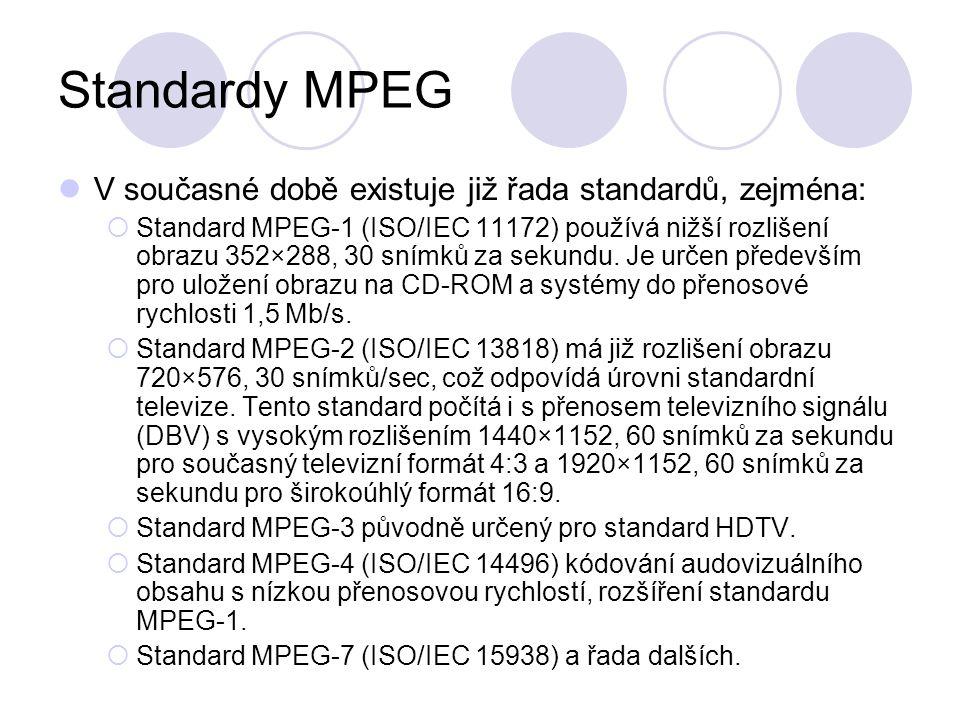 Standardy MPEG V současné době existuje již řada standardů, zejména: