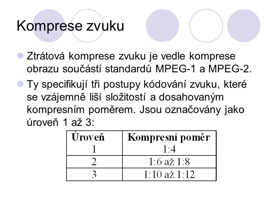 Komprese zvuku Ztrátová komprese zvuku je vedle komprese obrazu součástí standardů MPEG-1 a MPEG-2.