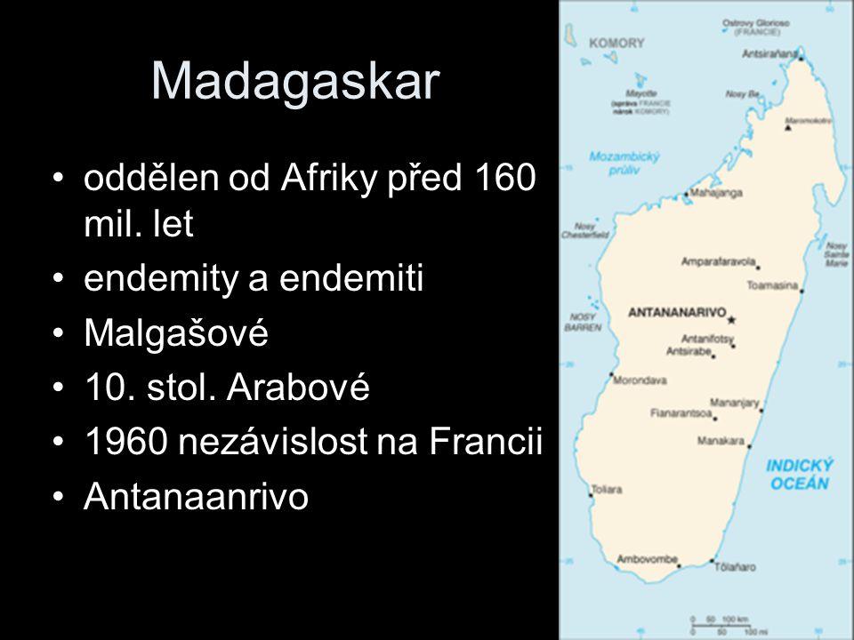 Madagaskar oddělen od Afriky před 160 mil. let endemity a endemiti
