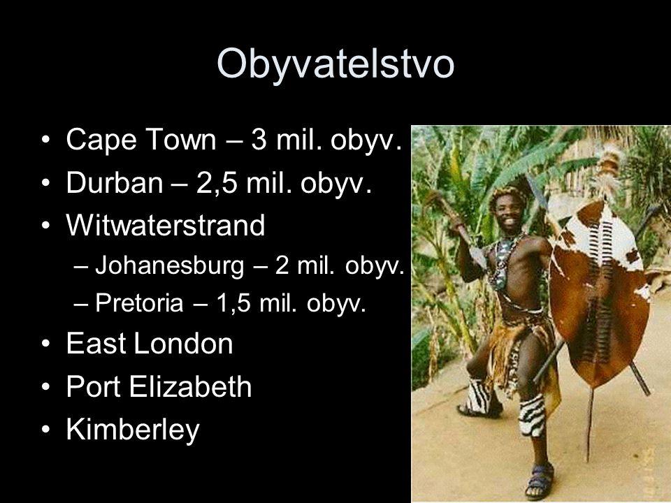 Obyvatelstvo Cape Town – 3 mil. obyv. Durban – 2,5 mil. obyv.