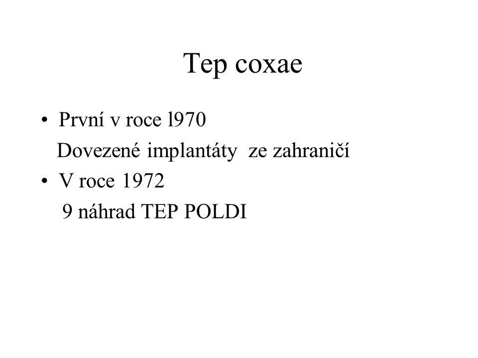 Tep coxae První v roce l970 Dovezené implantáty ze zahraničí