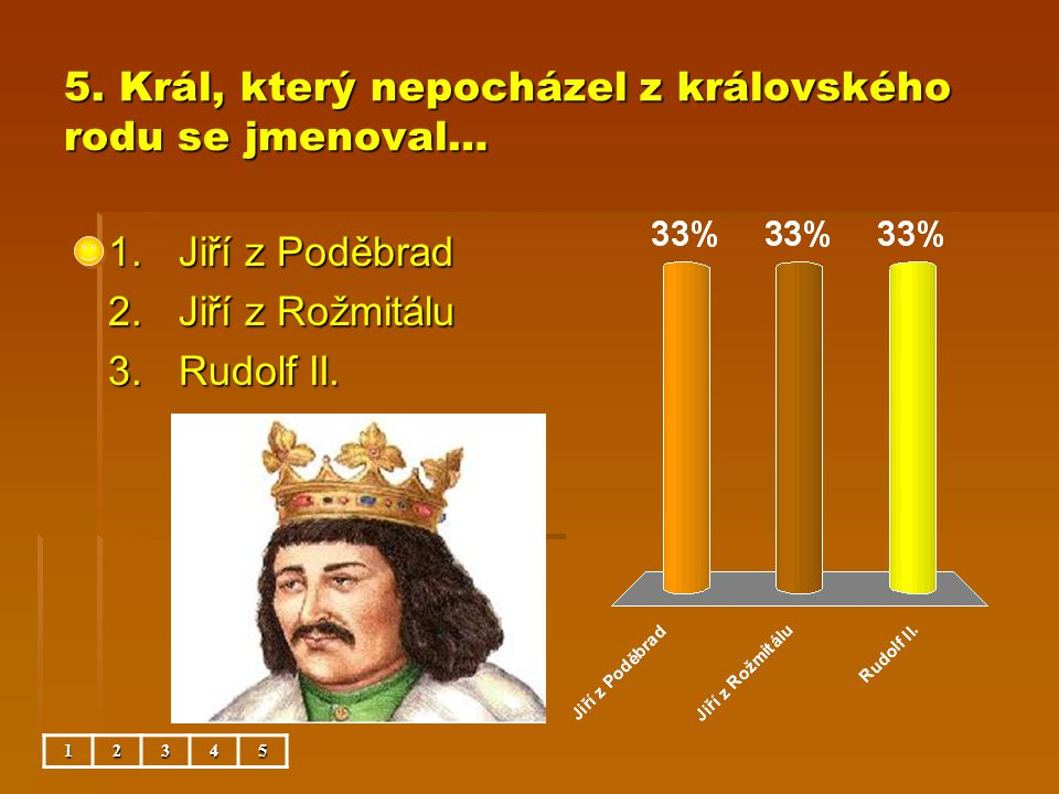 5. Král, který nepocházel z královského rodu se jmenoval…