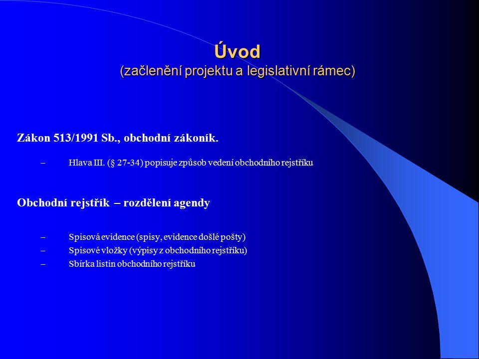 Úvod (začlenění projektu a legislativní rámec)