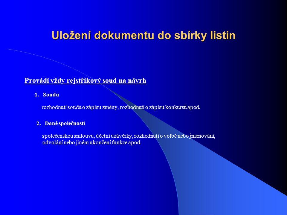 Uložení dokumentu do sbírky listin